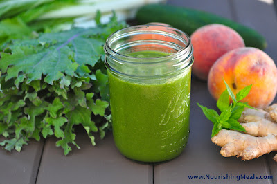 Peach Ginger Mint Green Smoothie